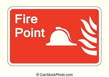 Señal de símbolo de punto de fuego sobre fondo blanco, ilustración de vectores