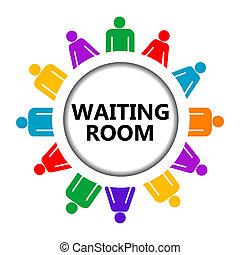 Señal de sala de espera con un grupo de personas