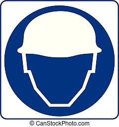 Señal de seguridad. Hay que usar cascos de seguridad.