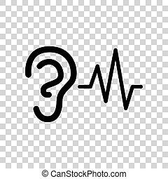Señal de sonido de oído. icono negro sobre fondo transparente.