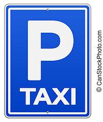 Señal de taxi azul y estacionamiento