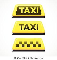 Señal de taxi en fondo blanco. Ilustración de vectores