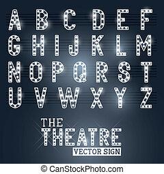 Señal de teatro y alfabeto