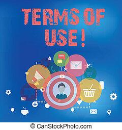 Señal de texto mostrando términos de uso. Foto conceptual estableció condiciones para usar algo de acuerdos de política.