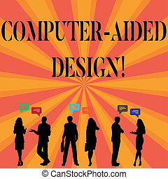 Señal de texto que muestra diseño de computadoras. Foto conceptual de diseño industrial CAD usando dispositivos electrónicos.