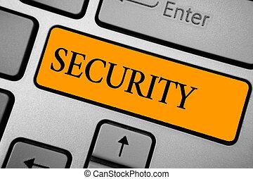 Señal de texto que muestra seguridad. Foto conceptual el estado de sentirse seguro y libre del miedo o peligro la clave de la llave de tecla de teclado crea un documento de reflexión computacional.