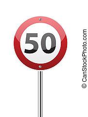 señal de tráfico, límite de velocidad, cincuenta