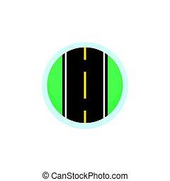 Señal de vector de icono de carretera, símbolo redondo con autopista