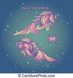 Señal del pez zodiaco, rosa en un fondo azul claro con estrellas,