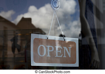 señal, empresa / negocio, abierto