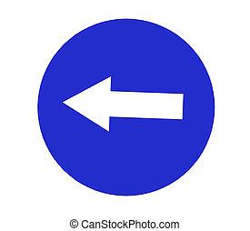 señal, fondo., compulsory, blanco, izquierda, tráfico, vuelta