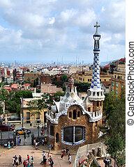 señal, guell, -, parque, barcelona