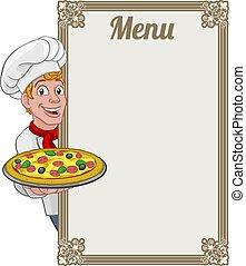señal, hombre, pizza, plano de fondo, cocinero, menú, chef, caricatura