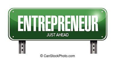señal, ilustración, empresario