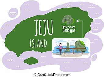 señal, jeju, isla, famoso, corea del sur, bienvenida, naturaleza, architecture., oedolgae