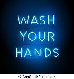 señal, lavado, su, manos, neón