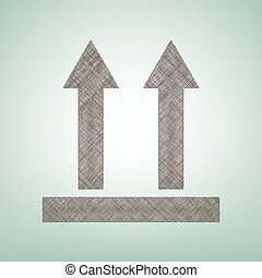 Señal logística de flechas. Vector. Un icono de lino marrón sobre fondo verde con un punto de luz en el centro.