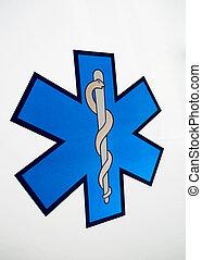 Señal médica aislada en un fondo blanco