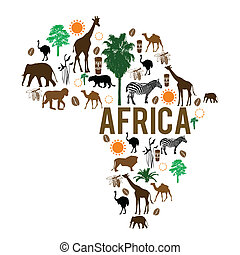 señal, mapa, silueta, áfrica, iconos