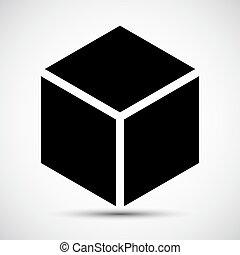 Señal negra de icono del cubo aislado sobre fondo blanco, ilustración de vectores