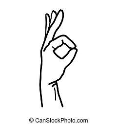 Señal OK de mano aislada en el fondo blanco. Vector
