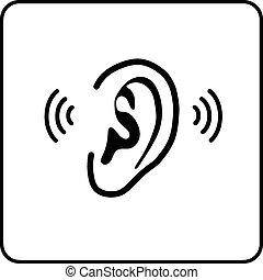 señal, -, oreja, vector, silueta