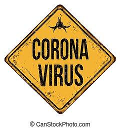 señal, oxidado, vendimia, corona, metal, virus