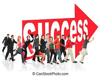señal, personas empresa, themed, éxito, collage, corra, siguiente, flecha