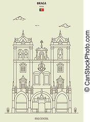 señal, portugal., icono, catedral, braga