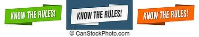 señal, reglas, banner., conjunto, cinta, saber, etiqueta