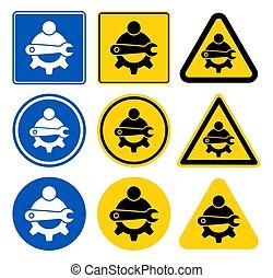 señal, símbolo, ilustración, aislar, icono, mantenimiento, técnico, vector, plano de fondo, blanco
