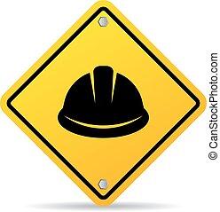 señal, vector, sombrero, duro