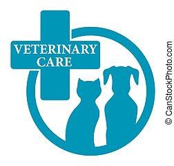 Señal veterinario azul