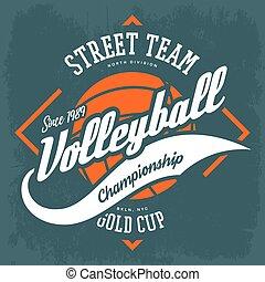 señal, voleibol, camiseta, diseño, impresión, ropa de deporte
