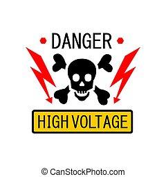 señal, voltaje, relámpago, ilustración, alto, vector, skull., electricidad, símbolo, plantilla, advertencia, peligro