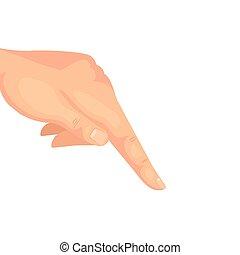 señalar, blanco, abajo, dedo, mano, plano de fondo