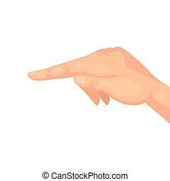 señalar, blanco, dedo, plano de fondo, mano