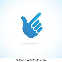 señalar, cursor, mano, papel, vector, icono