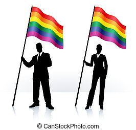señale ondear, orgullo alegre, siluetas, empresa / negocio