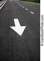 señales, asphalted, superficie, camino, flechas