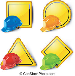 Señales de carretera y cascos