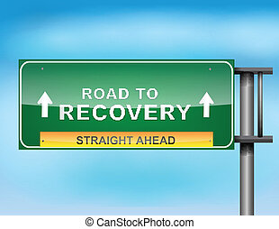 """Señales de carreteras con texto """"Road a Recuperación"""