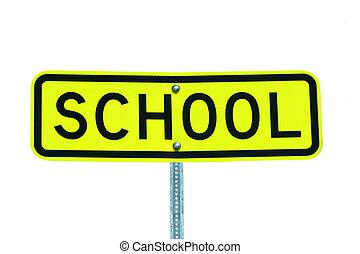 Señales de escuela aisladas en blanco