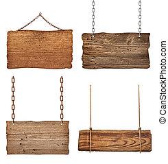 Señales de madera, cadena de mensaje de fondo colgando