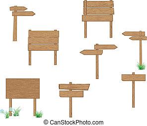 Señales de madera marrón