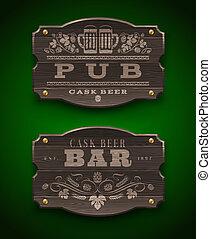 Señales de madera para el bar y el bar