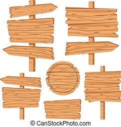Señales de madera puestas. Tablas de madera, señales, placas, flechas. Planchas marrones. Placas de madera en blanco y pancartas. Ilustración de vectores