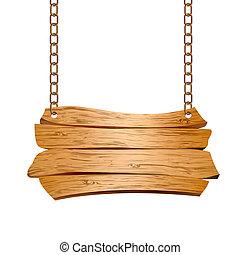 Señales de madera suspendidas en cadenas
