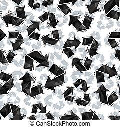 Señales de reciclaje negro sin costura, estilo geométrico contemporáneo