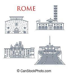 señales, famoso, roma, edificios, arquitectura